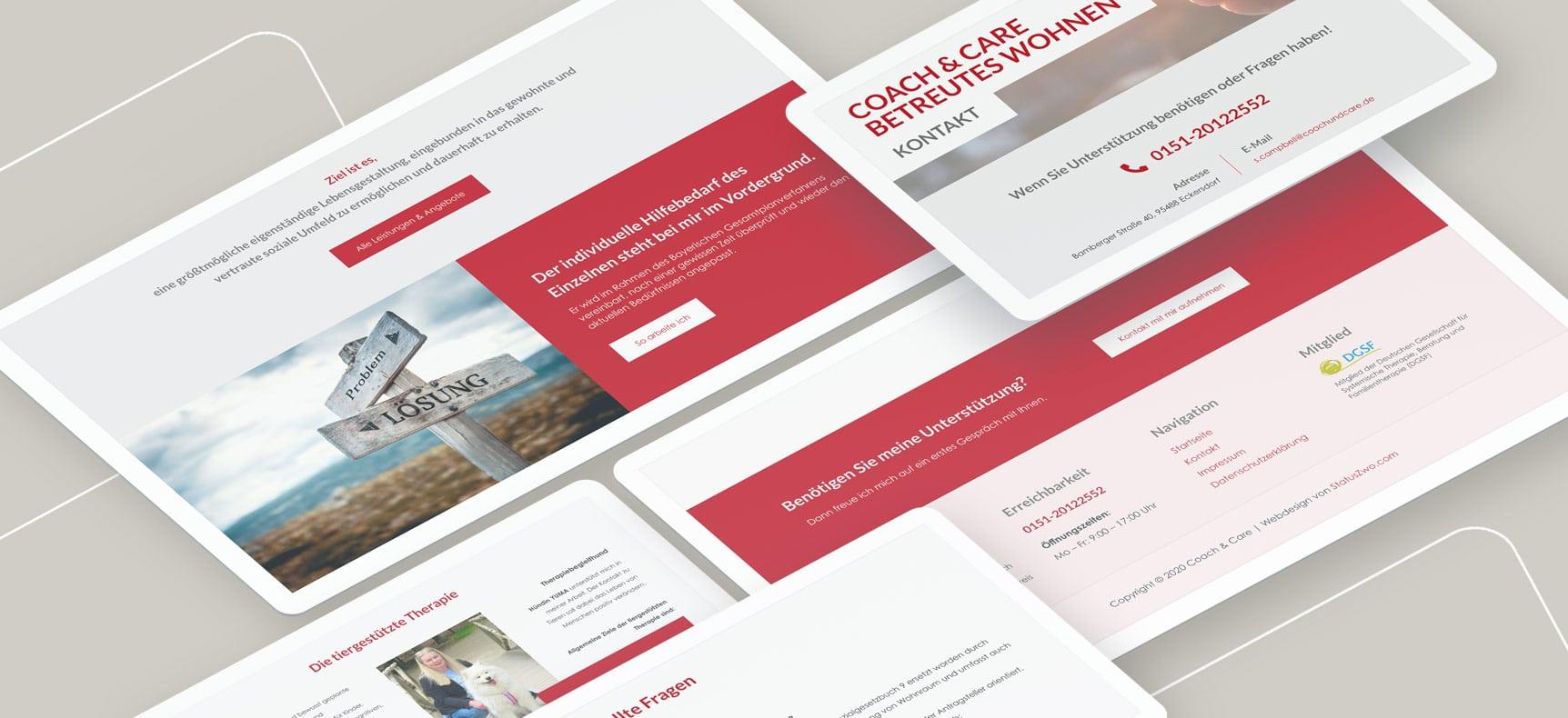 Coach&Care betreutes Wohnen - Websites erstellt von StatusZwo.com