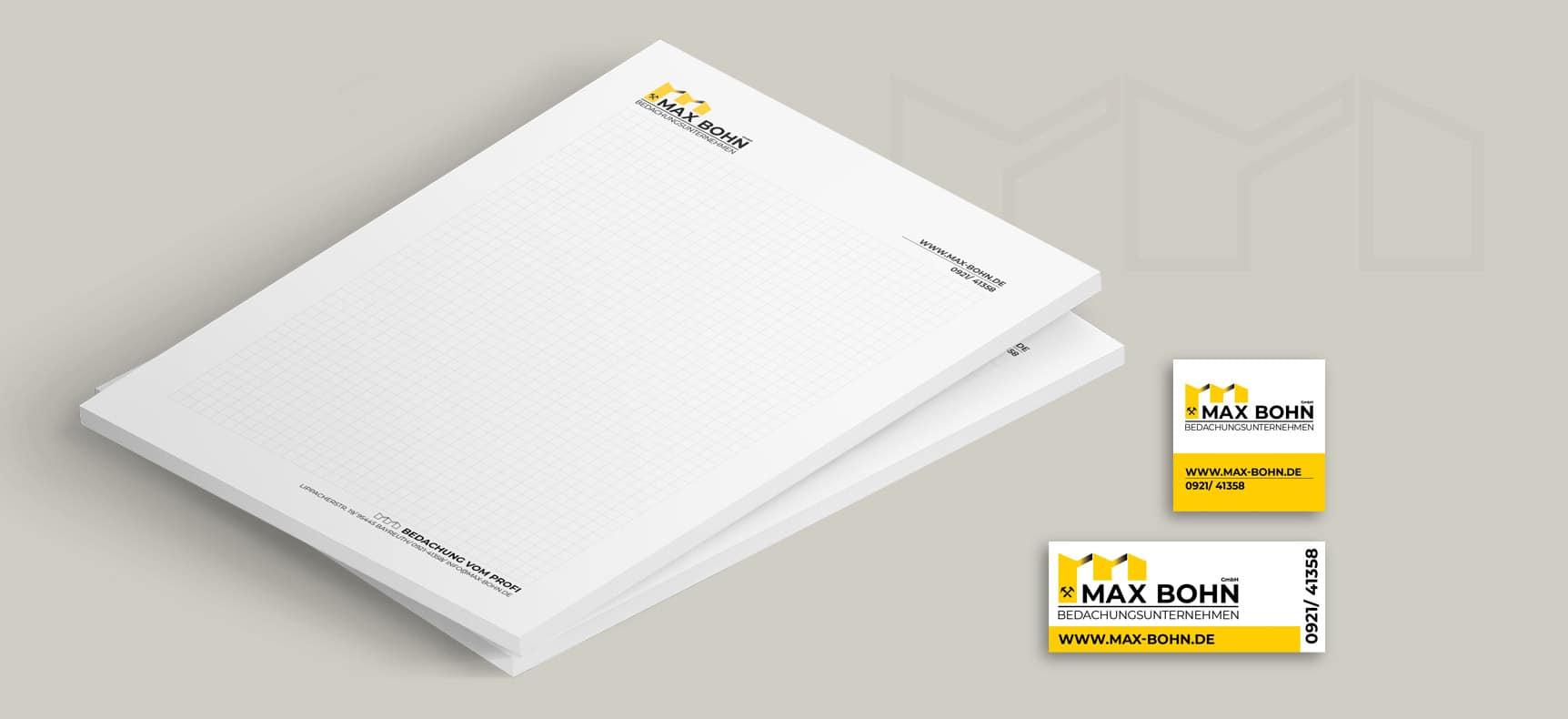 Max Bohn GmbH   Schreibblöcke, Blöcke, Maschinenaufkleber entwickelt von StatusZwo.com